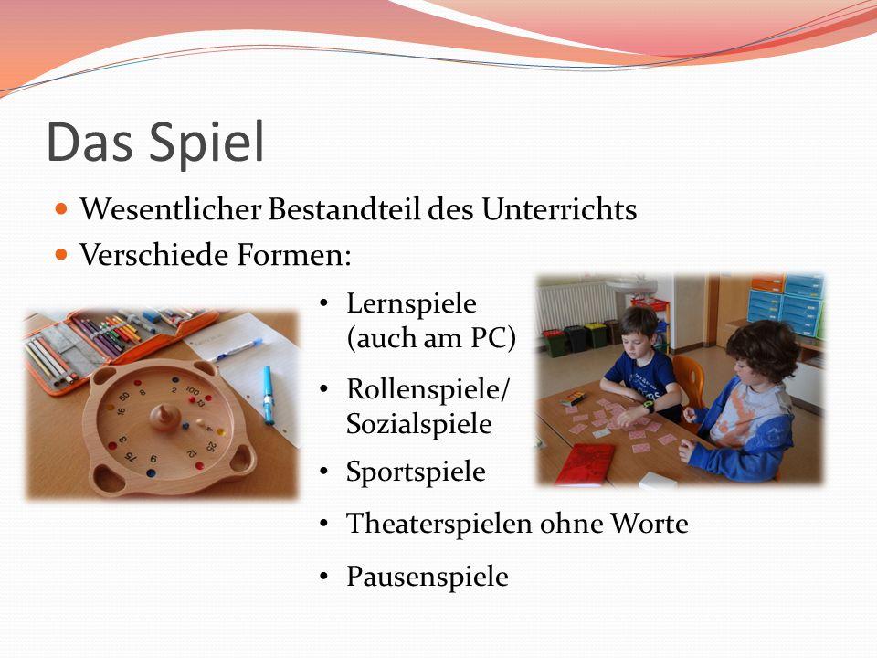 Das Spiel Wesentlicher Bestandteil des Unterrichts Verschiede Formen: Lernspiele (auch am PC) Rollenspiele/ Sozialspiele Sportspiele Theaterspielen oh