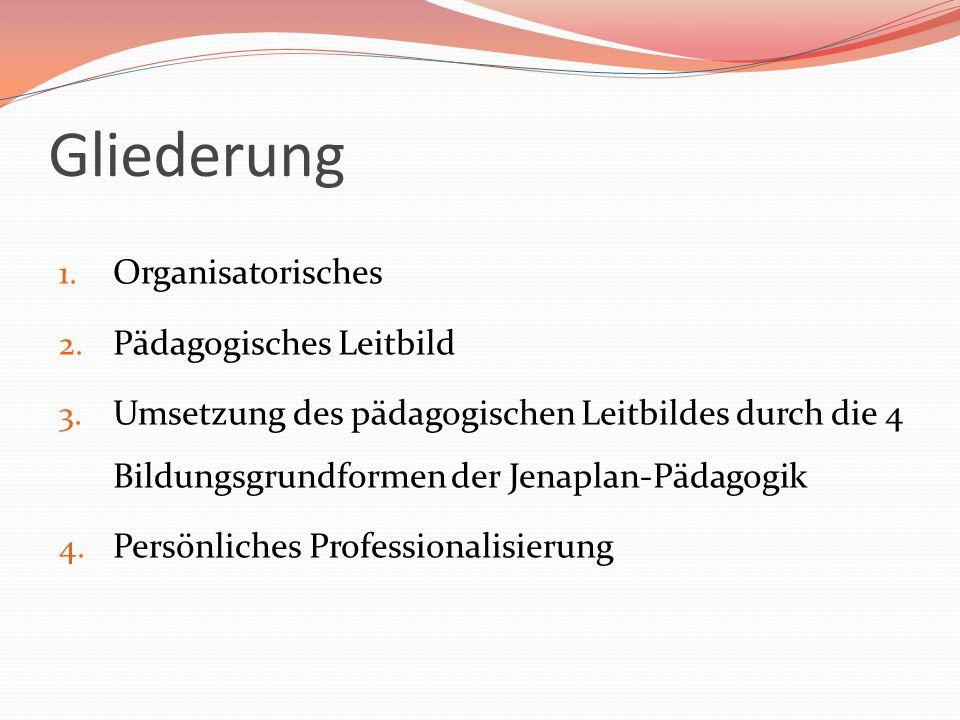 Gliederung 1. Organisatorisches 2. Pädagogisches Leitbild 3. Umsetzung des pädagogischen Leitbildes durch die 4 Bildungsgrundformen der Jenaplan-Pädag