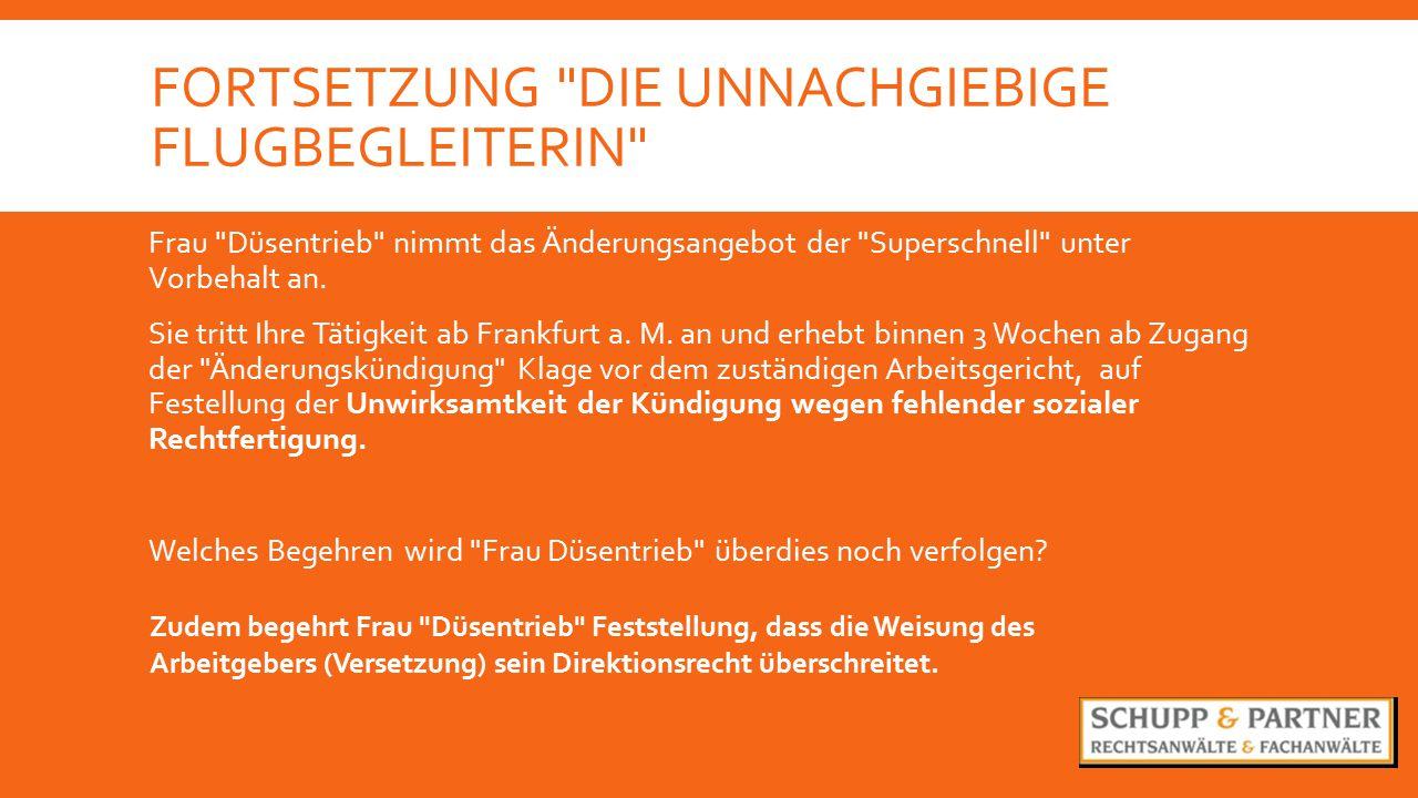 FORTSETZUNG DIE UNNACHGIEBIGE FLUGBEGLEITERIN Frau Düsentrieb nimmt das Änderungsangebot der Superschnell unter Vorbehalt an.