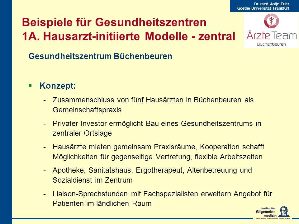 Dr.med. Antje Erler Goethe-Universität Frankfurt Beispiele für Gesundheitszentren 1A.