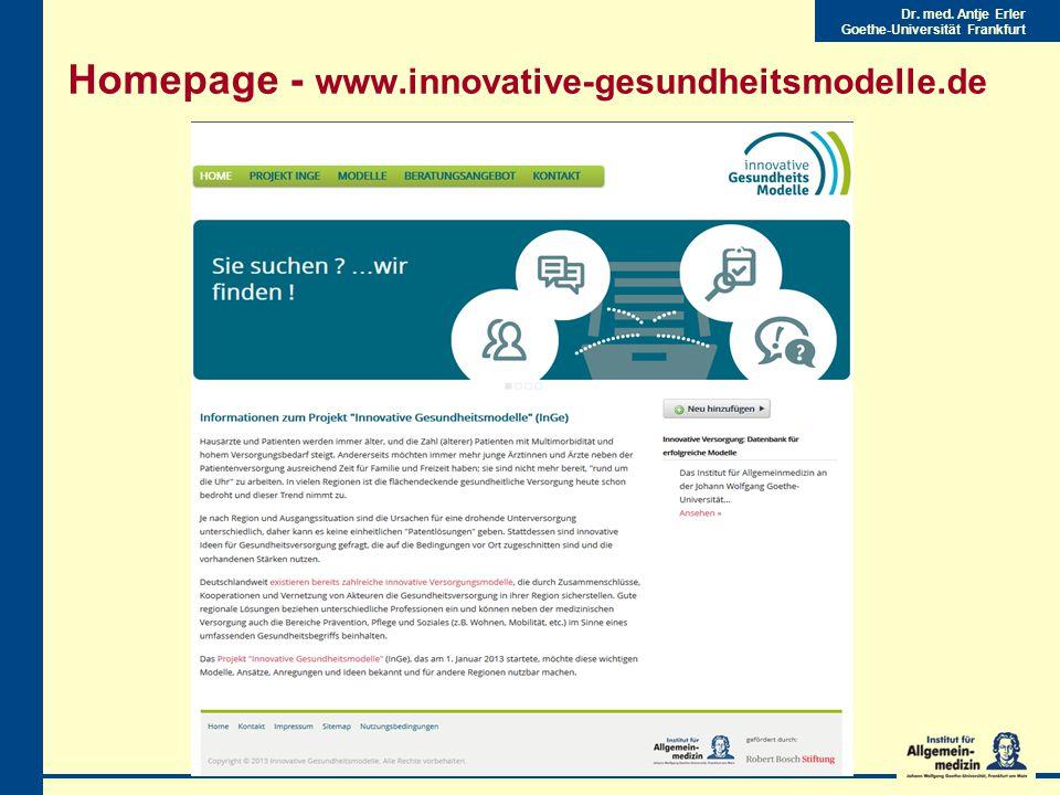 Dr. med. Antje Erler Goethe-Universität Frankfurt Homepage - www.innovative-gesundheitsmodelle.de