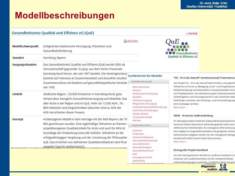 Dr. med. Antje Erler Goethe-Universität Frankfurt Modellbeschreibungen