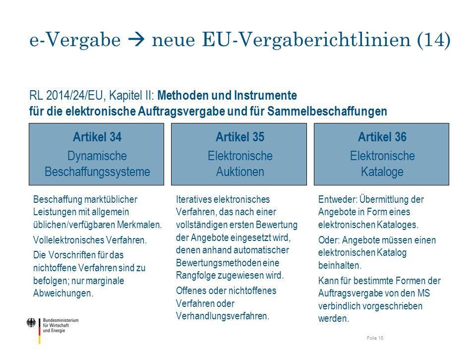 RL 2014/24/EU, Kapitel II: Methoden und Instrumente für die elektronische Auftragsvergabe und für Sammelbeschaffungen e-Vergabe  neue EU-Vergabericht