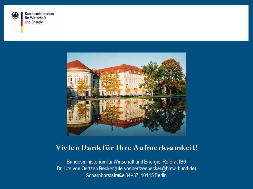 Vielen Dank für Ihre Aufmerksamkeit! Bundesministerium für Wirtschaft und Energie, Referat IB6 Dr. Ute von Oertzen Becker (ute.vonoertzenbecker@bmwi.b