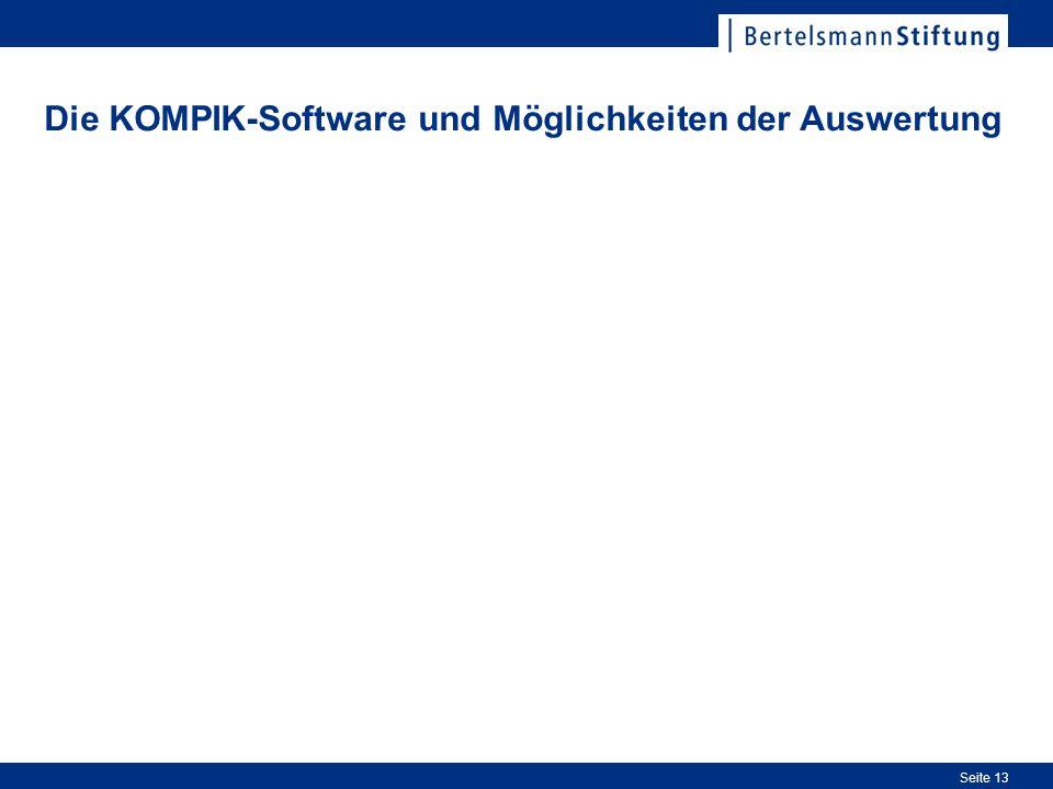 Seite 13 Die KOMPIK-Software und Möglichkeiten der Auswertung