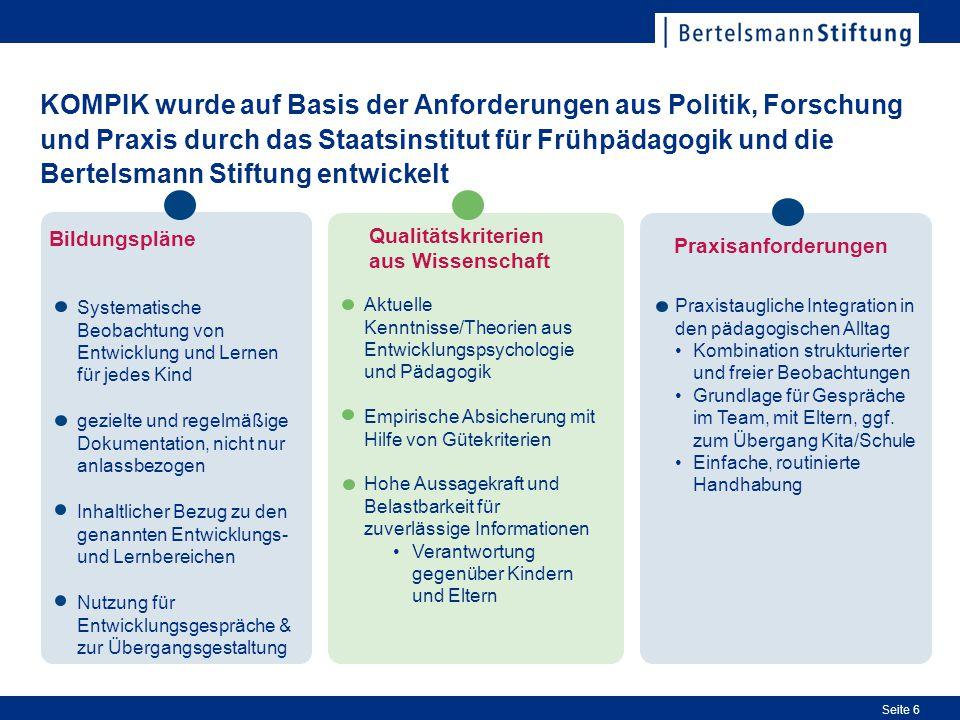 Seite 6 KOMPIK wurde auf Basis der Anforderungen aus Politik, Forschung und Praxis durch das Staatsinstitut für Frühpädagogik und die Bertelsmann Stif