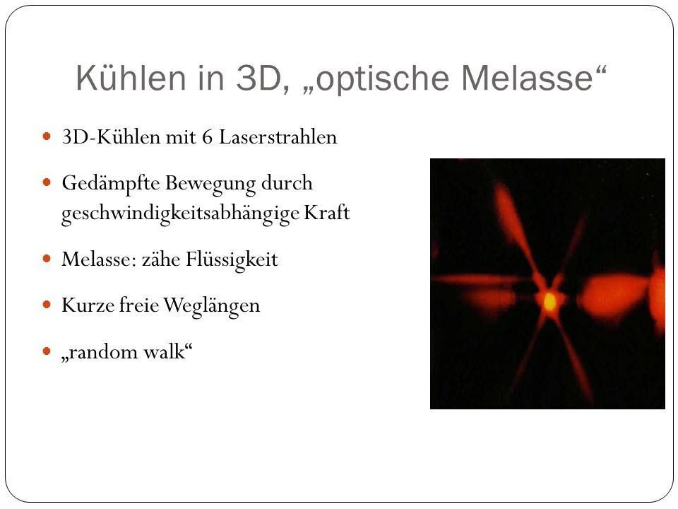 """Kühlen in 3D, """"optische Melasse"""" 3D-Kühlen mit 6 Laserstrahlen Gedämpfte Bewegung durch geschwindigkeitsabhängige Kraft Melasse: zähe Flüssigkeit Kurz"""