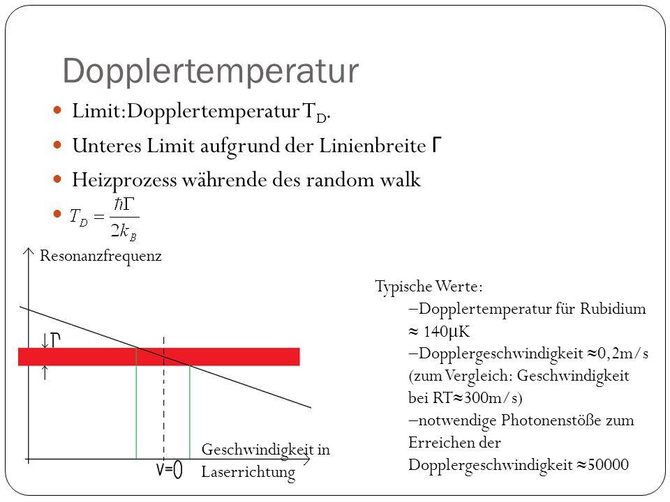 Dopplertemperatur Limit:Dopplertemperatur T D. Unteres Limit aufgrund der Linienbreite Γ Heizprozess währende des random walk Typische Werte:  Dopple