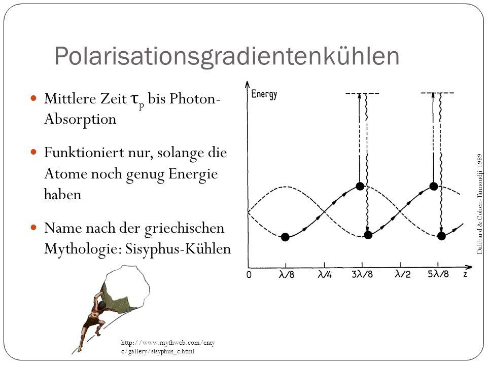 Polarisationsgradientenkühlen Mittlere Zeit τ p bis Photon- Absorption Funktioniert nur, solange die Atome noch genug Energie haben Name nach der grie