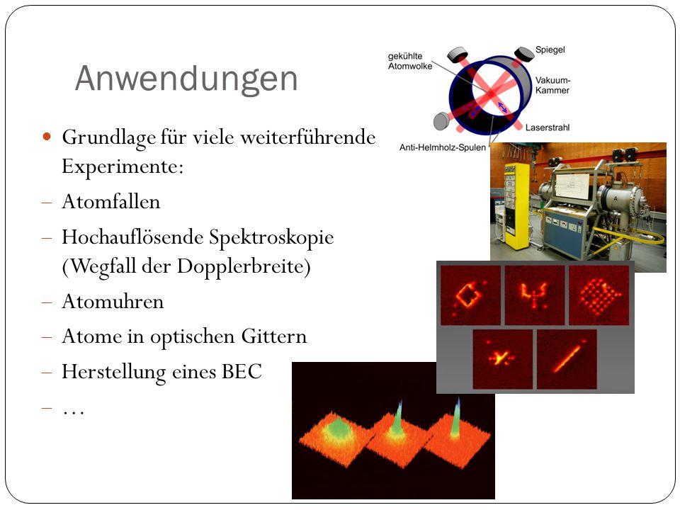 Anwendungen Grundlage für viele weiterführende Experimente:  Atomfallen  Hochauflösende Spektroskopie (Wegfall der Dopplerbreite)  Atomuhren  Atom