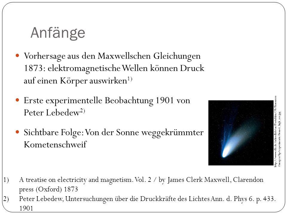 Anfänge Vorhersage aus den Maxwellschen Gleichungen 1873: elektromagnetische Wellen können Druck auf einen Körper auswirken 1) Erste experimentelle Be