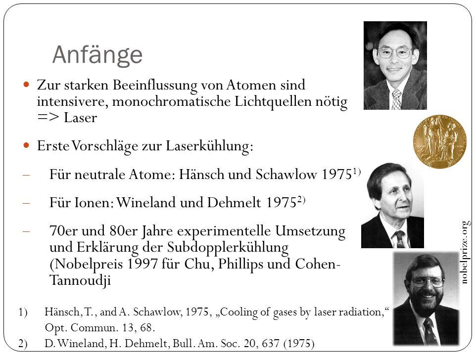 Anfänge Zur starken Beeinflussung von Atomen sind intensivere, monochromatische Lichtquellen nötig => Laser Erste Vorschläge zur Laserkühlung:  Für n