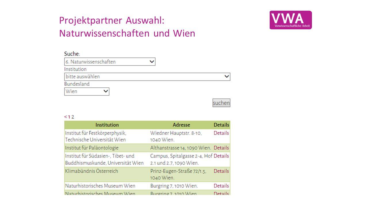 Projektpartner Auswahl: Naturwissenschaften und Wien