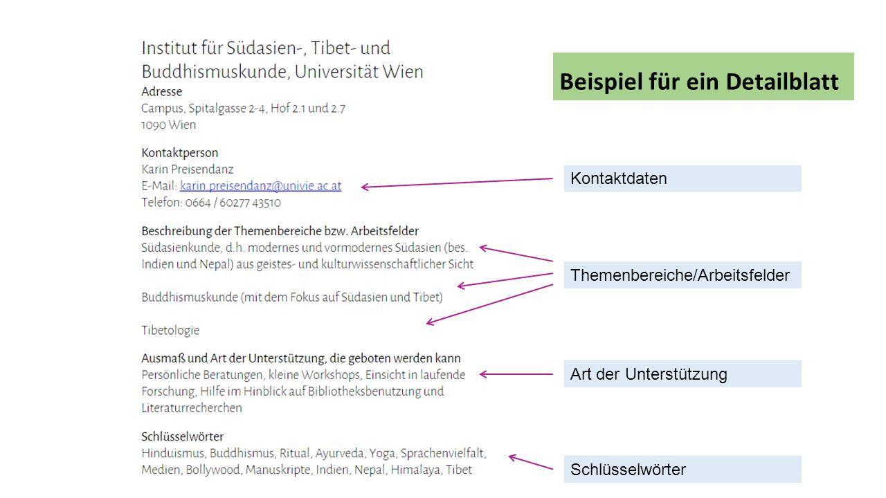 Kontaktdaten Themenbereiche/Arbeitsfelder Art der Unterstützung Schlüsselwörter Beispiel für ein Detailblatt