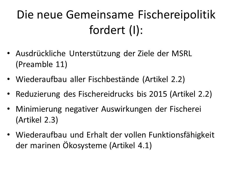 Die neue Gemeinsame Fischereipolitik fordert (I): Ausdrückliche Unterstützung der Ziele der MSRL (Preamble 11) Wiederaufbau aller Fischbestände (Artik