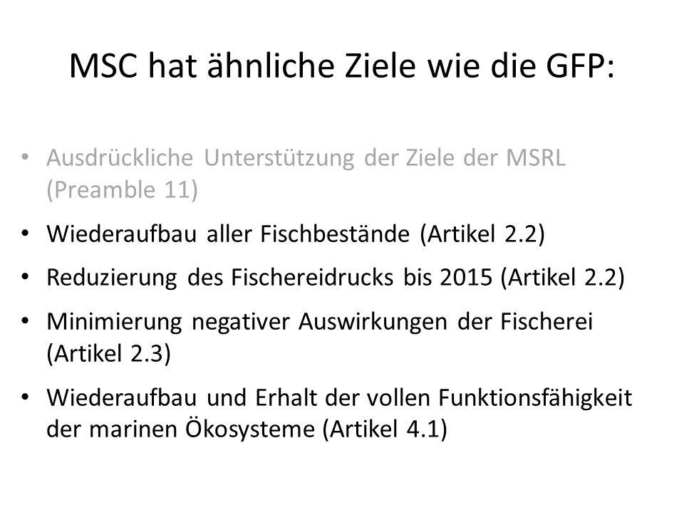 MSC hat ähnliche Ziele wie die GFP: Ausdrückliche Unterstützung der Ziele der MSRL (Preamble 11) Wiederaufbau aller Fischbestände (Artikel 2.2) Reduzi