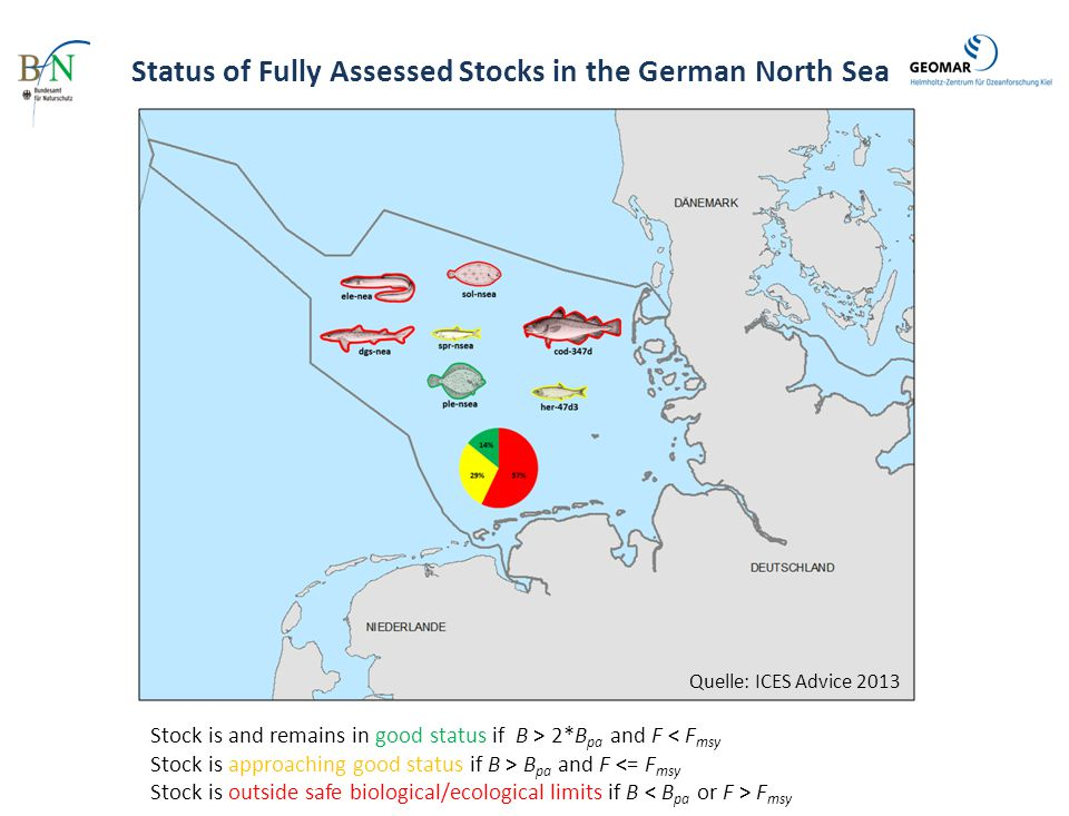 Status of Fully Assessed Stocks in the German Baltic Sea Stock is and remains in good status if B > 2*B pa and F < F msy Stock is approaching good status if B > B pa and F <= F msy Stock is outside safe biological/ecological limits if B F msy Quelle: ICES Advice 2013