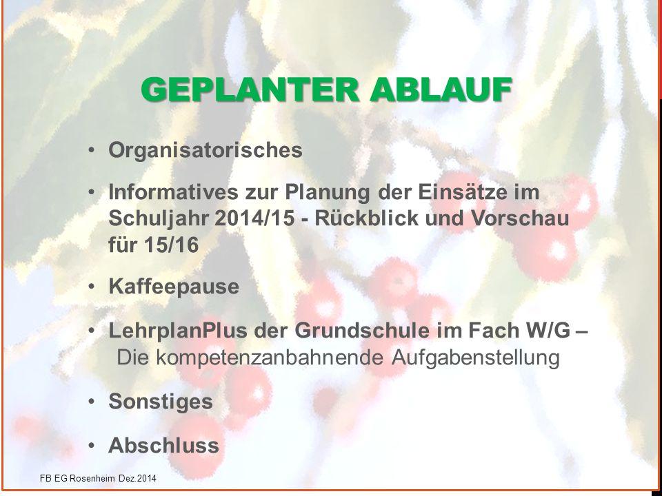 GEPLANTER ABLAUF Organisatorisches Informatives zur Planung der Einsätze im Schuljahr 2014/15 - Rückblick und Vorschau für 15/16 Kaffeepause LehrplanP