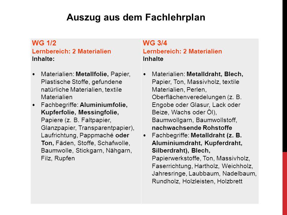 WG 1/2 Lernbereich: 2 Materialien Inhalte: Materialien: Metallfolie, Papier, Plastische Stoffe, gefundene natürliche Materialien, textile Materialien