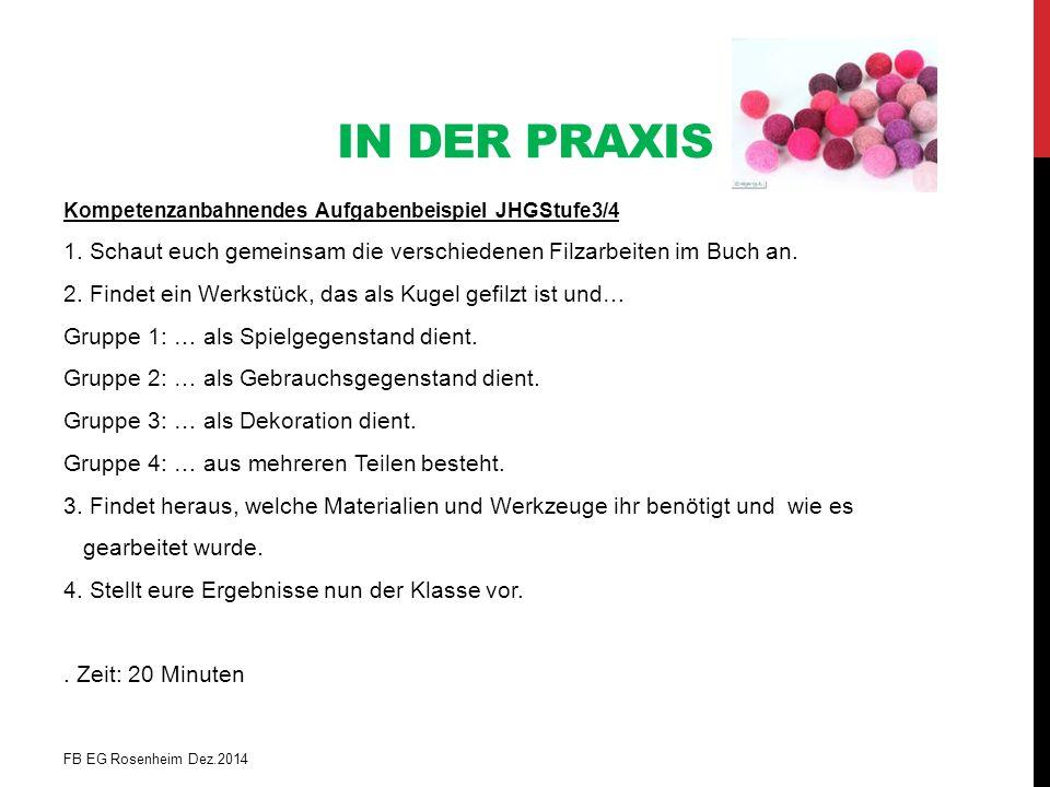 IN DER PRAXIS Kompetenzanbahnendes Aufgabenbeispiel JHGStufe3/4 1. Schaut euch gemeinsam die verschiedenen Filzarbeiten im Buch an. 2. Findet ein Werk
