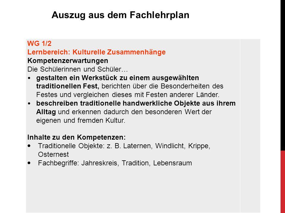 WG 3/4 Lernbereich: 4 Kulturelle Zusammenhänge Kompetenzerwartungen Die Schülerinnen und Schüler…  gestalten gemeinsam einen Raum (z.