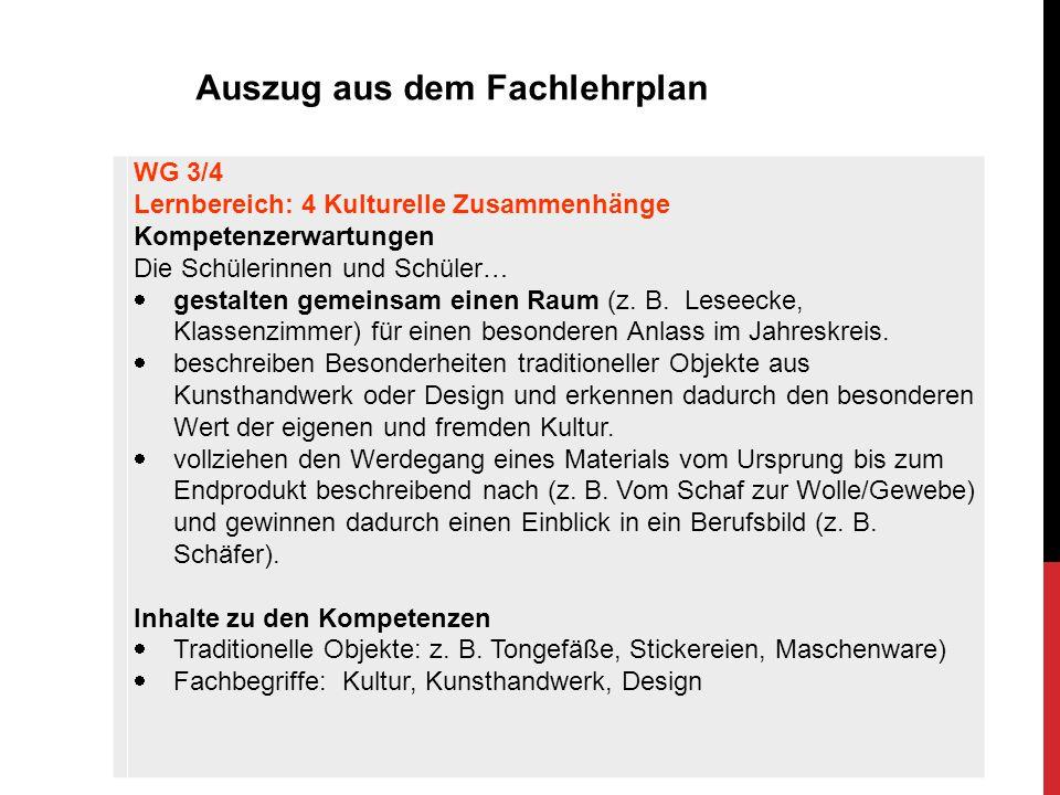 WG 3/4 Lernbereich: 4 Kulturelle Zusammenhänge Kompetenzerwartungen Die Schülerinnen und Schüler…  gestalten gemeinsam einen Raum (z. B. Leseecke, Kl