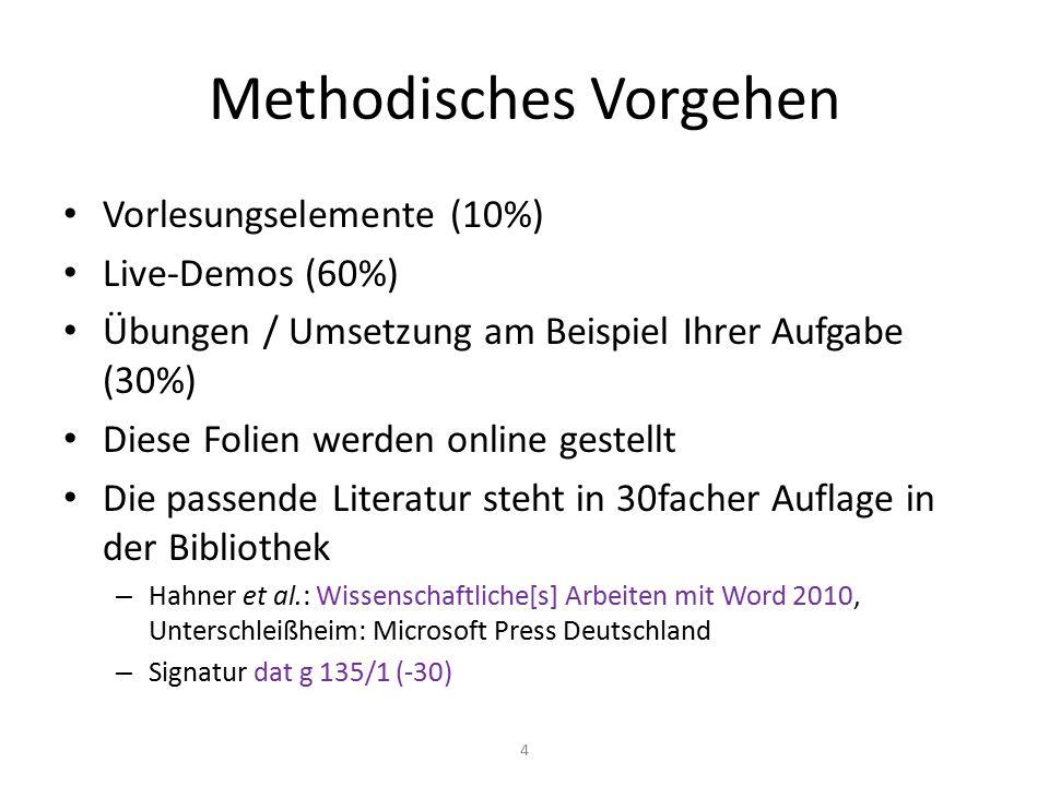 Methodisches Vorgehen Vorlesungselemente (10%) Live-Demos (60%) Übungen / Umsetzung am Beispiel Ihrer Aufgabe (30%) Diese Folien werden online gestell