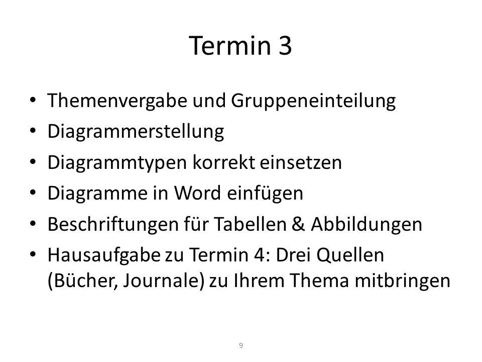 Termin 3 Themenvergabe und Gruppeneinteilung Diagrammerstellung Diagrammtypen korrekt einsetzen Diagramme in Word einfügen Beschriftungen für Tabellen