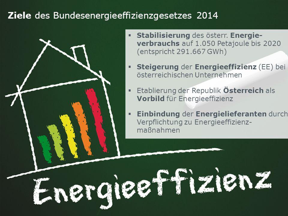 Folie 2denkstatt 2014 Ziele des Bundesenergieeffizienzgesetzes 2014  Stabilisierung des österr. Energie- verbrauchs auf 1.050 Petajoule bis 2020 (ent