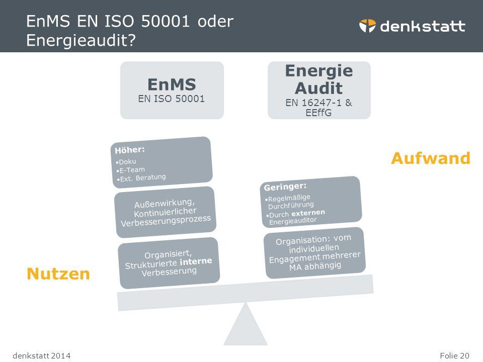 Folie 20denkstatt 2014 EnMS EN ISO 50001 oder Energieaudit? EnMS EN ISO 50001 Energie Audit EN 16247-1 & EEffG Organisiert, Strukturierte interne Verb