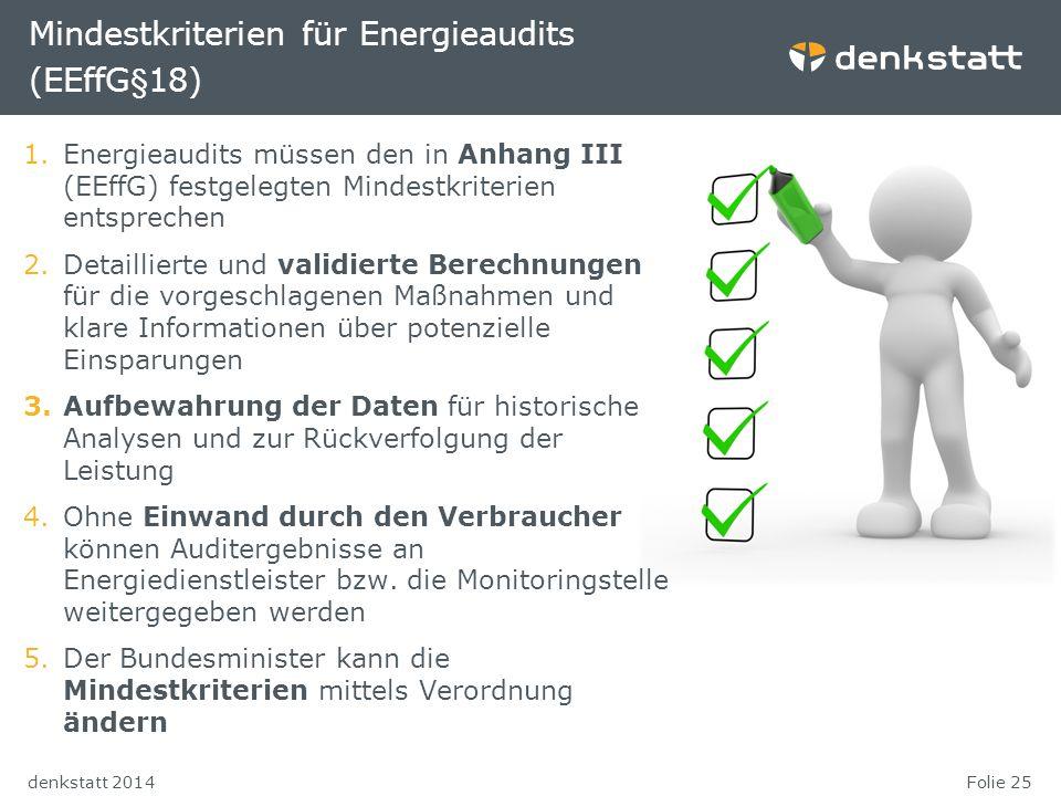 Folie 25denkstatt 2014 Mindestkriterien für Energieaudits (EEffG§18) 1.Energieaudits müssen den in Anhang III (EEffG) festgelegten Mindestkriterien en
