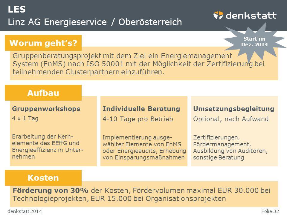 Folie 32denkstatt 2014 LES Linz AG Energieservice / Oberösterreich Gruppenberatungsprojekt mit dem Ziel ein Energiemanagement System (EnMS) nach ISO 5