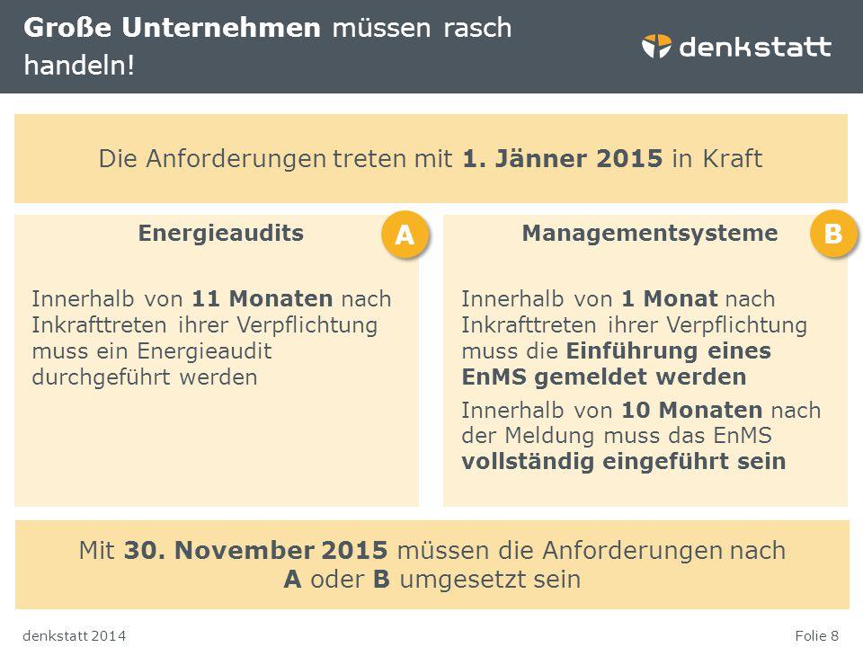 Folie 8denkstatt 2014 Große Unternehmen müssen rasch handeln! Energieaudits Innerhalb von 11 Monaten nach Inkrafttreten ihrer Verpflichtung muss ein E