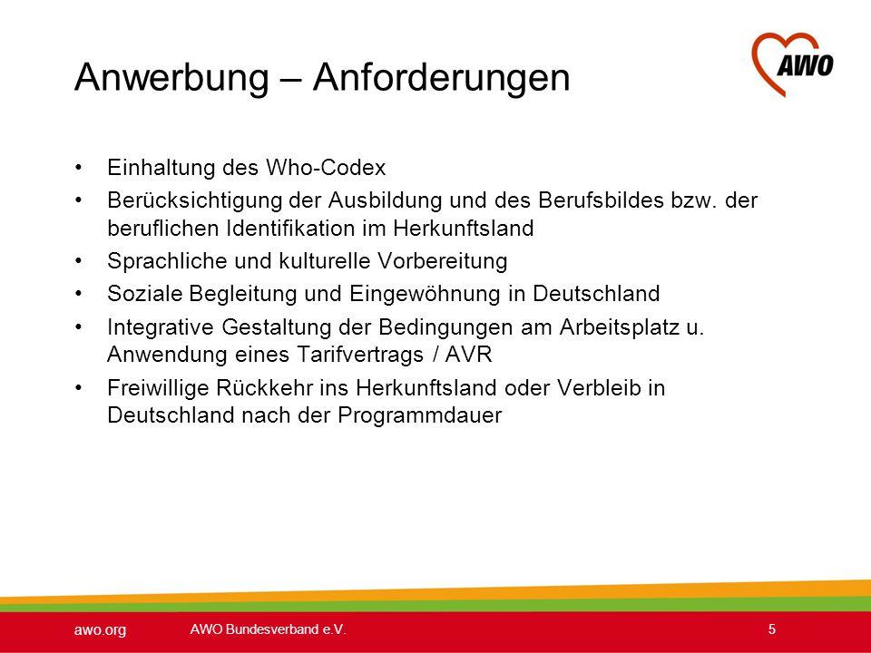 awo.org AWO Bundesverband e.V.5 Anwerbung – Anforderungen Einhaltung des Who-Codex Berücksichtigung der Ausbildung und des Berufsbildes bzw. der beruf