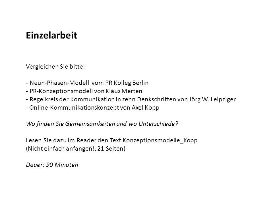 Einzelarbeit Vergleichen Sie bitte: - Neun-Phasen-Modell vom PR Kolleg Berlin - PR-Konzeptionsmodell von Klaus Merten - Regelkreis der Kommunikation i