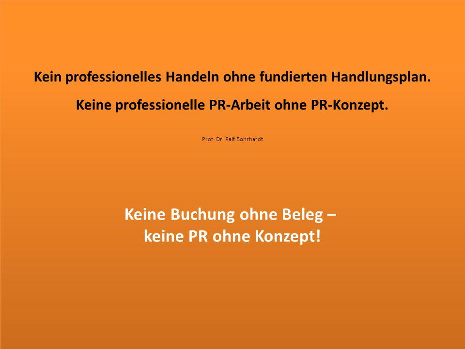 Kein professionelles Handeln ohne fundierten Handlungsplan. Keine professionelle PR-Arbeit ohne PR-Konzept. Prof. Dr. Ralf Bohrhardt Keine Buchung ohn