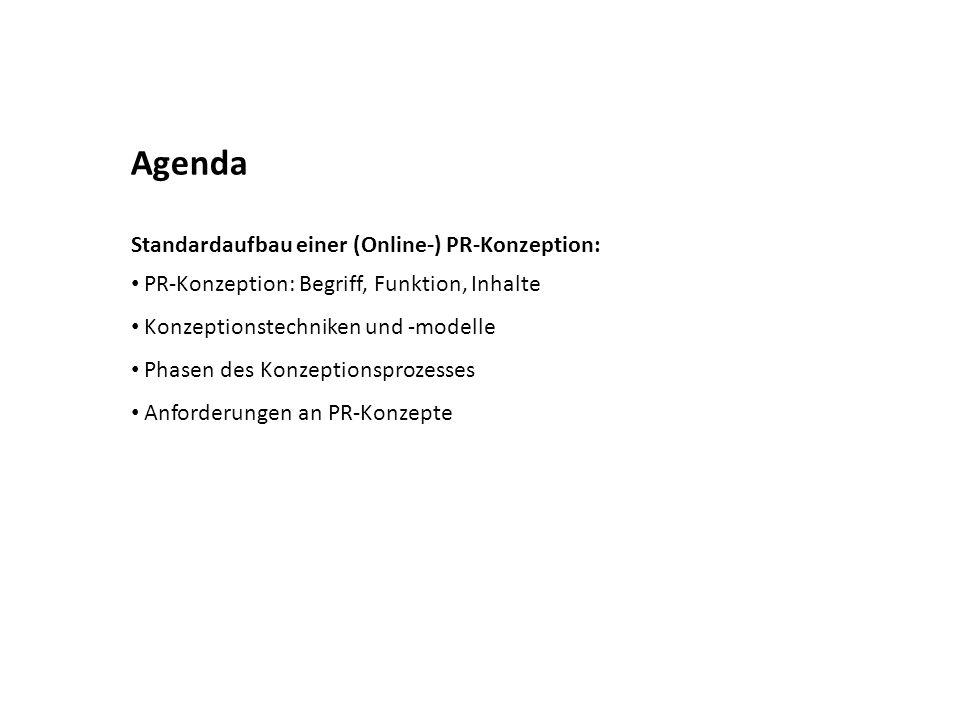 Agenda Standardaufbau einer (Online-) PR-Konzeption: PR-Konzeption: Begriff, Funktion, Inhalte Konzeptionstechniken und -modelle Phasen des Konzeption