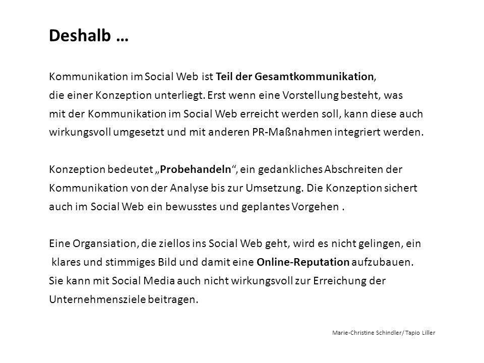Deshalb … Kommunikation im Social Web ist Teil der Gesamtkommunikation, die einer Konzeption unterliegt. Erst wenn eine Vorstellung besteht, was mit d