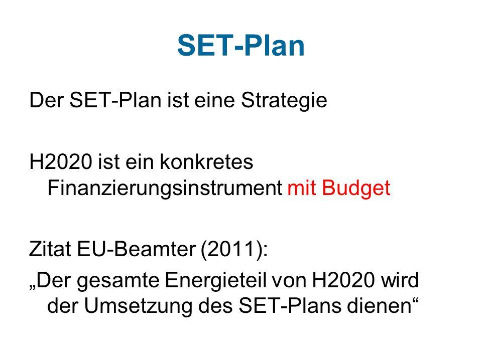 """SET-Plan Der SET-Plan ist eine Strategie H2020 ist ein konkretes Finanzierungsinstrument mit Budget Zitat EU-Beamter (2011): """"Der gesamte Energieteil von H2020 wird der Umsetzung des SET-Plans dienen"""