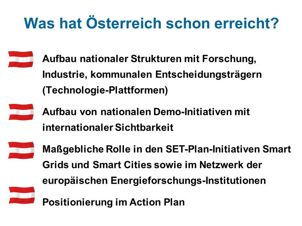 Was hat Österreich schon erreicht? Aufbau nationaler Strukturen mit Forschung, Industrie, kommunalen Entscheidungsträgern (Technologie-Plattformen) Au