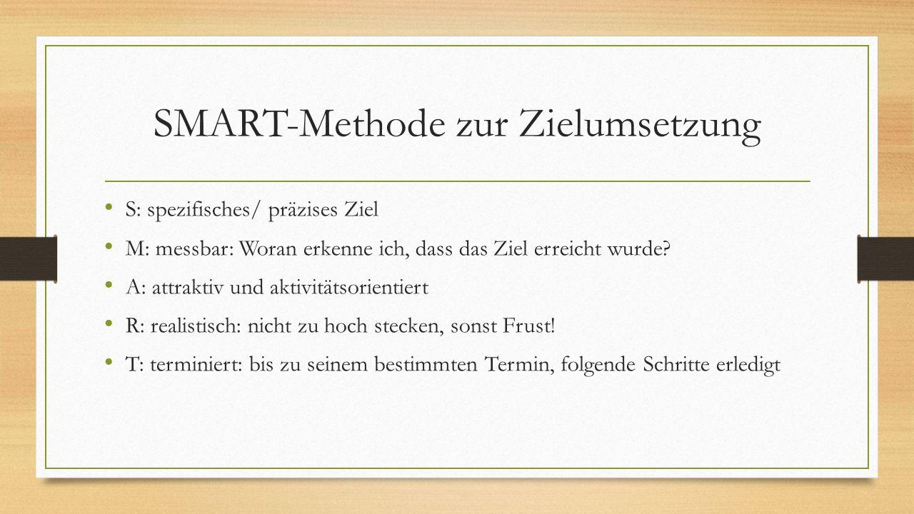 SMART-Methode zur Zielumsetzung S: spezifisches/ präzises Ziel M: messbar: Woran erkenne ich, dass das Ziel erreicht wurde? A: attraktiv und aktivität