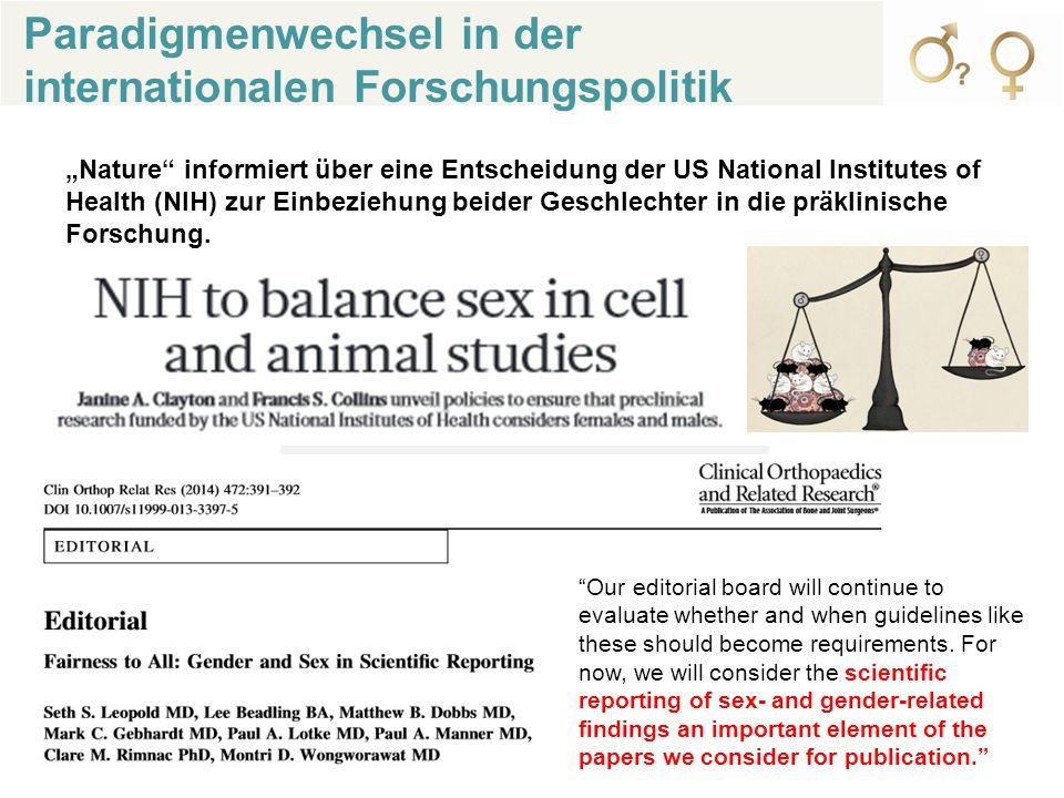 """Paradigmenwechsel in der internationalen Forschungspolitik """"Nature informiert über eine Entscheidung der US National Institutes of Health (NIH) zur Einbeziehung beider Geschlechter in die präklinische Forschung."""