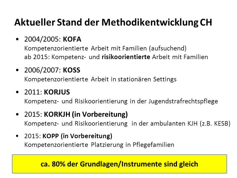 21 Aktueller Stand der Methodikentwicklung CH 2004/2005: KOFA Kompetenzorientierte Arbeit mit Familien (aufsuchend) ab 2015: Kompetenz- und risikoorie