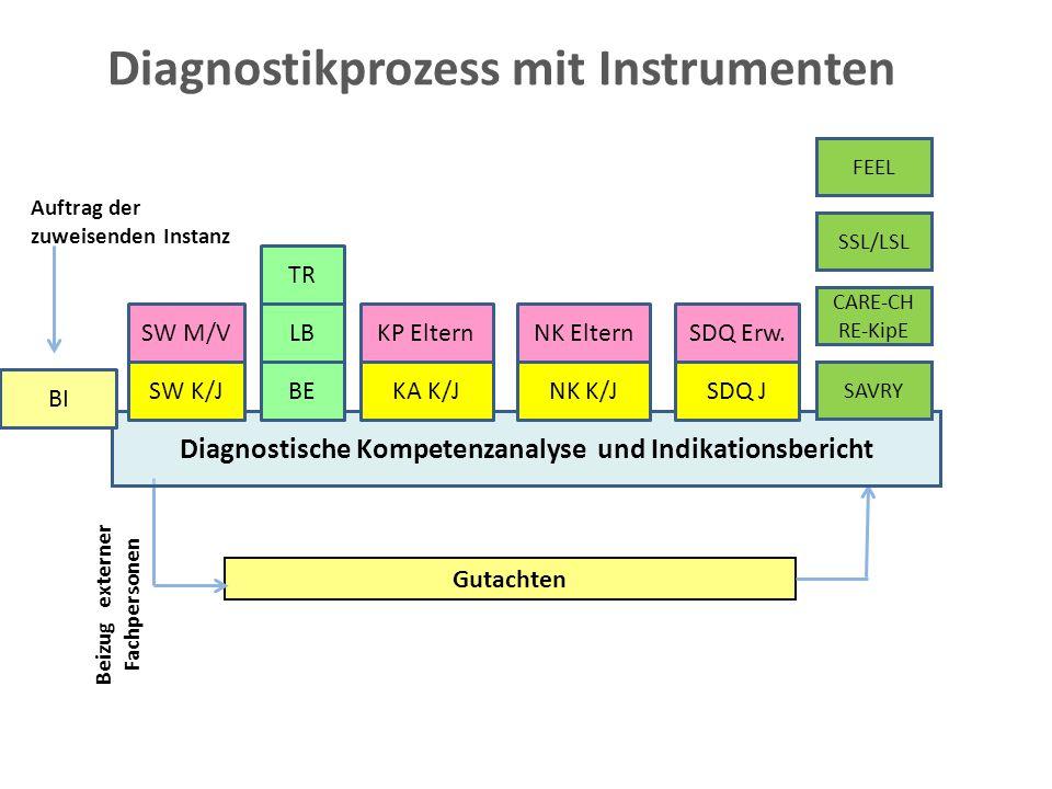 Diagnostikprozess mit Instrumenten SW M/VLB SDQ Erw. Gutachten Beizug externer Fachpersonen Diagnostische Kompetenzanalyse und Indikationsbericht BI B