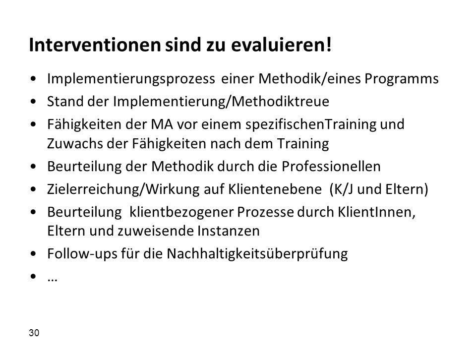 30 Interventionen sind zu evaluieren! Implementierungsprozess einer Methodik/eines Programms Stand der Implementierung/Methodiktreue Fähigkeiten der M