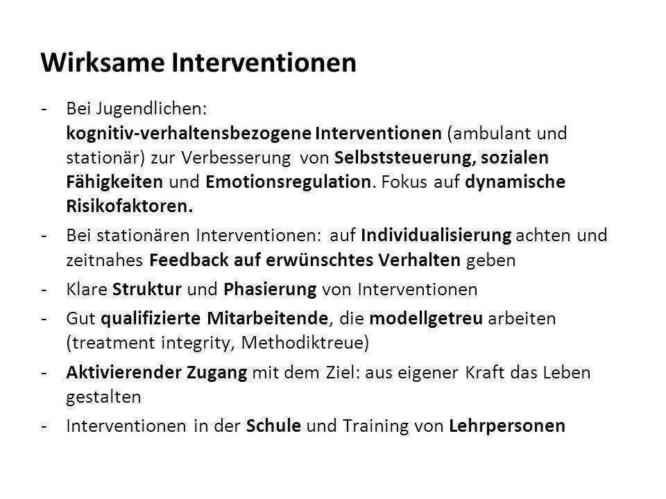 Wirksame Interventionen -Bei Jugendlichen: kognitiv-verhaltensbezogene Interventionen (ambulant und stationär) zur Verbesserung von Selbststeuerung, sozialen Fähigkeiten und Emotionsregulation.