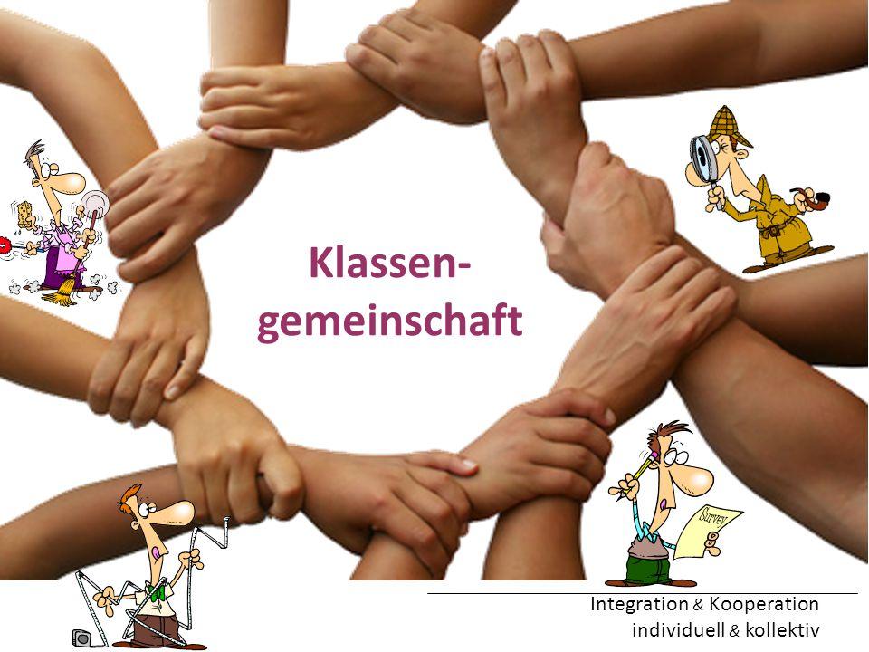 Integration & Kooperation individuell & kollektiv Klassen- gemeinschaft