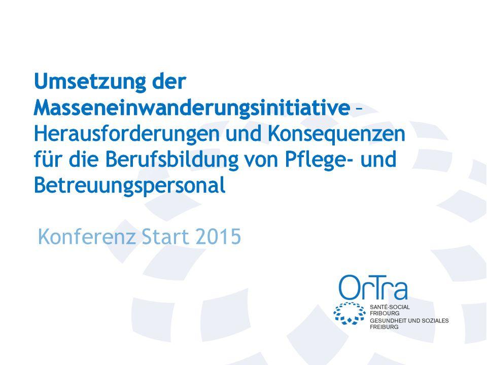 Umsetzung Masseneinwanderungsinitiative (MEI) Herausforderungen und Konsequenzen für die Berufsbildung von Pflege- und Betreuungspersonal Jürg Winkler Projektleiter Personal- und Bildungspolitik 5.