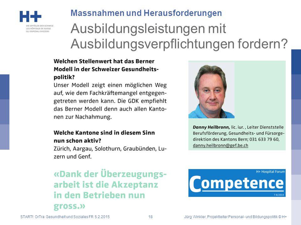 Massnahmen und Herausforderungen START! OrTra Gesundheit und Soziales FR 5.2.2015Jürg Winkler, Projektleiter Personal- und Bildungspolitik © H+18 Ausb