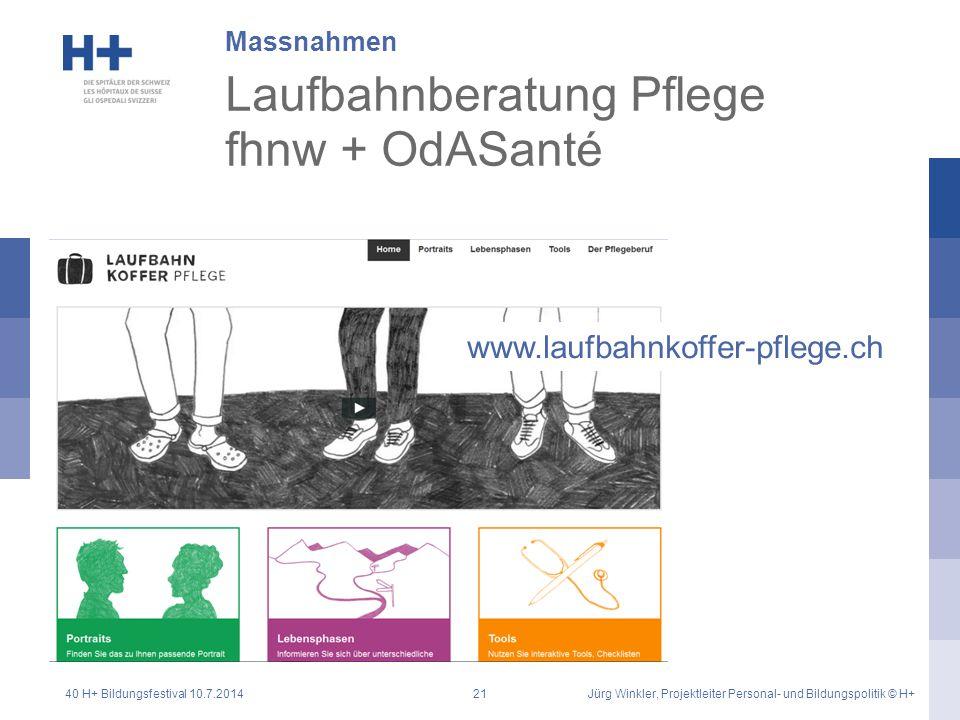 Laufbahnberatung Pflege fhnw + OdASanté Massnahmen www.laufbahnkoffer-pflege.ch 40 H+ Bildungsfestival 10.7.2014Jürg Winkler, Projektleiter Personal-